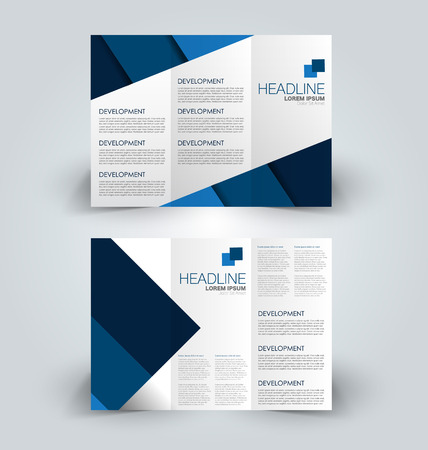Tri fold brochure design. Creative business flyer template. Editable vector illustration. Blue color.