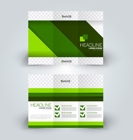 Tri fold brochure design. Creative business flyer template. Editable vector illustration. Green color.