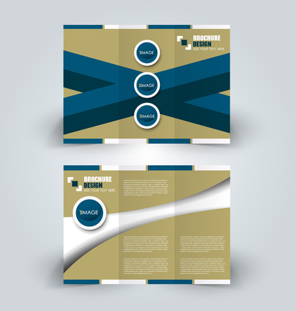Brochure template. Business trifold flyer.  Creative design trend for professional corporate style. Vector illustration. Green and blue color.