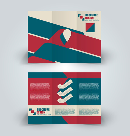Brochure template. Business trifold flyer. Creative design trend for professional corporate style. Vector illustration.Green and red color.