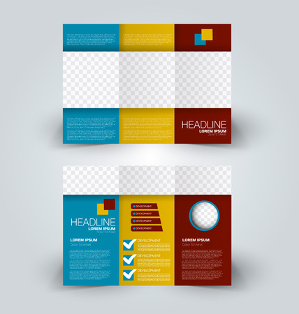 Tri fold brochure design. Creative business flyer template. Editable vector illustration. Blue, orange, and red color.