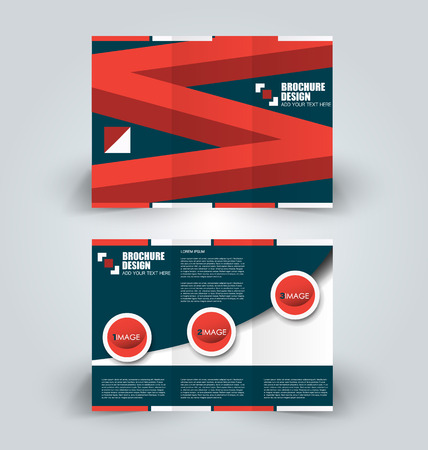 Brochure template. Business trifold flyer. Creative design trend for professional corporate style. Vector illustration. Green and red color.