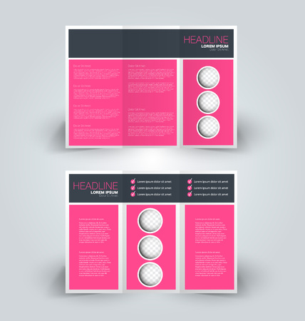 Brochure template. Business trifold flyer.  Creative design trend for professional corporate style. Vector illustration. Pink color.