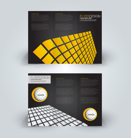 Brochure template. Business trifold flyer. Creative design trend for professional corporate style. Vector illustration. Black and yellow color.