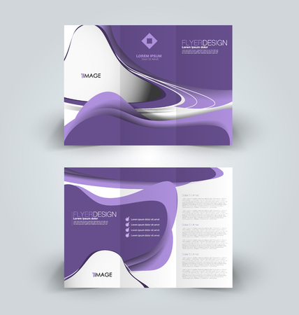 Brochure template. Business trifold flyer. Creative design trend for professional corporate style. Vector illustration. Purple color.