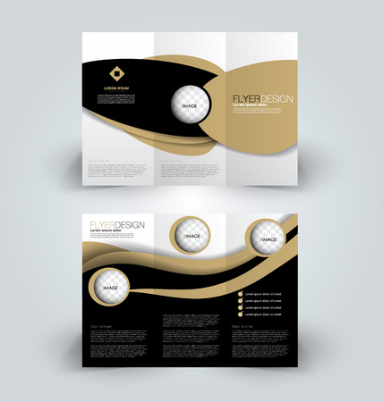 Brochure template. Business trifold flyer. Creative design trend for professional corporate style. Vector illustration. Black and brown color.