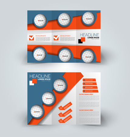 Tri fold brochure design. Creative business flyer template. Editable vector illustration. Orange and blue color.