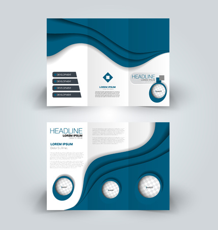 Brochure template. Business trifold flyer.  Creative design trend for professional corporate style. Vector illustration. Blue color.  イラスト・ベクター素材