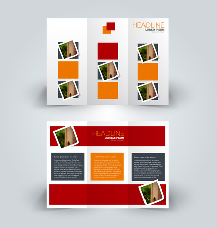 Brochure template. Business trifold flyer.  Creative design trend for professional corporate style. Vector illustration. Red and orange color.