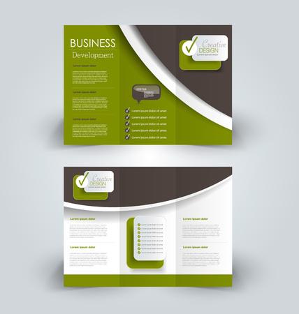 Tri fold brochure design. Creative business flyer template. Editable vector illustration. Green and brown color. Ilustração Vetorial