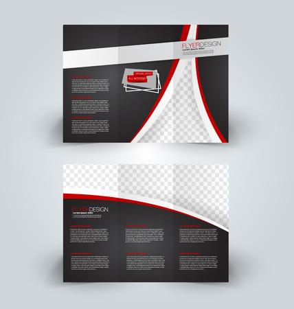 Brochure template. Business trifold flyer.  Creative design trend for professional corporate style. Vector illustration. Black and red color.