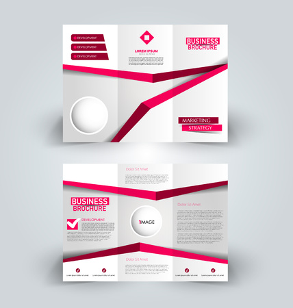 Brochure template. Business trifold flyer. Creative design trend for professional corporate style. Vector illustration. Pink and red color.