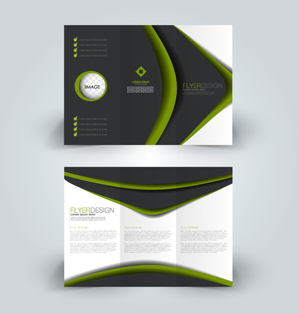 Brochure template. Business trifold flyer. Creative design trend for professional corporate style. Vector illustration. Black and green color.