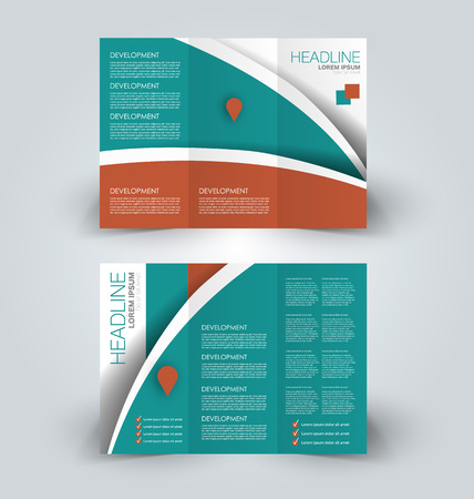 Tri fold brochure design. Creative business flyer template. Editable vector illustration. Green and red color.