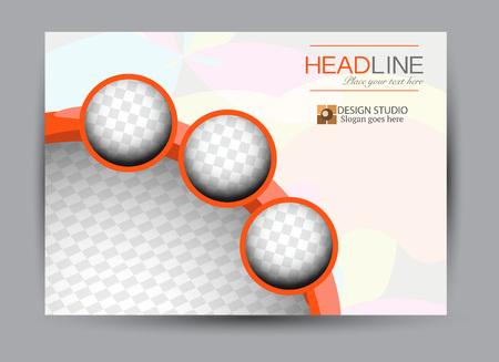 Flyer, brochure, billboard template design landscape orientation for business, education, school, presentation, website. Orange color. Editable vector illustration. Banque d'images - 114215703