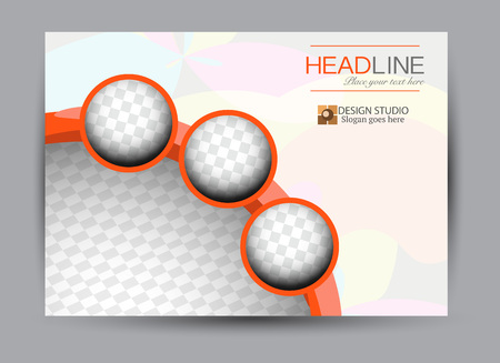 Flyer, brochure, billboard template design landscape orientation for business, education, school, presentation, website. Orange color. Editable vector illustration.