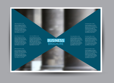 Flyer, brochure, billboard template design landscape orientation for business, education, school, presentation, website. Blue color. Editable vector illustration. Stock Illustratie