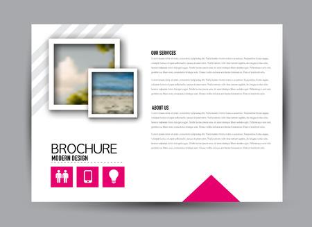 Flyer, brochure, billboard template design landscape orientation for business, education, school, presentation, website. Pink color. Editable vector illustration. Illustration