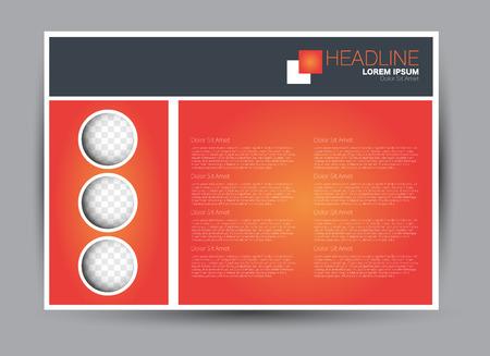 Flyer, brochure, billboard template design landscape orientation for education, presentation, website. Orange color. Editable vector illustration.