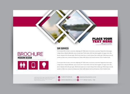 Flyer, brochure, billboard template design landscape orientation for business, education, school, presentation, website. Pink color. Editable vector illustration. Stock Illustratie
