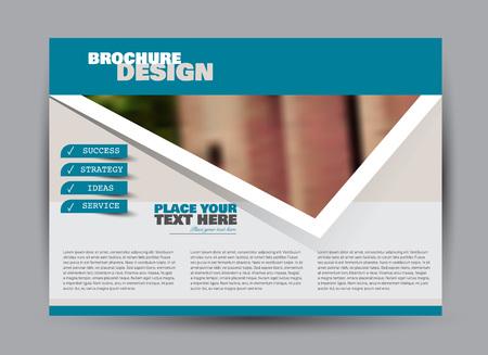 Flyer, brochure, billboard template design landscape orientation for business, education, school, presentation, website. Blue color. Editable vector illustration. Illustration