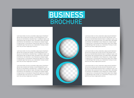 Flyer, brochure, billboard template design landscape orientation for business, education, school, presentation, website. Blue and grey color. Editable vector illustration.