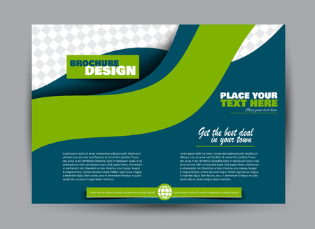 Flyer, brochure, billboard template design landscape orientation for business, education, school, presentation, website. Blue and green color. Editable vector illustration. Stock Illustratie