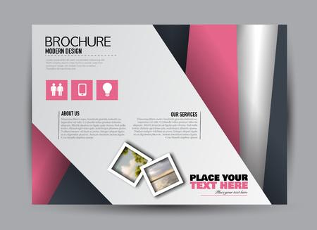 Flyer, brochure, billboard template design landscape orientation for business, education, school, presentation, website. Pink and grey color. Editable vector illustration.