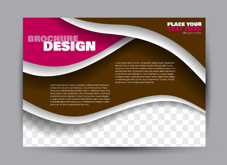 Flyer, brochure, billboard template design landscape orientation for business, education, school, presentation, website. Brown and pink color. Editable vector illustration.