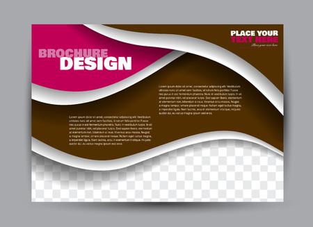 Ulotka, broszura, orientacja krajobrazu szablonu billboardu dla biznesu, edukacji, szkoły, prezentacji, strony internetowej. Kolor brązowy i różowy. Edytowalne ilustracji wektorowych.