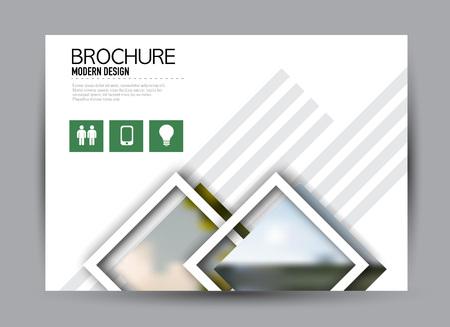 Flyer, brochure, billboard template design landscape orientation for business, education, school, presentation, website. Green color. Editable vector illustration. Stock Illustratie