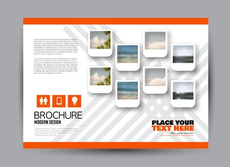 Flyer, brochure, orientation du paysage de conception de modèle de panneau d'affichage pour les entreprises, l'éducation, l'école, la présentation, le site Web. Couleur orange. Illustration vectorielle modifiable.