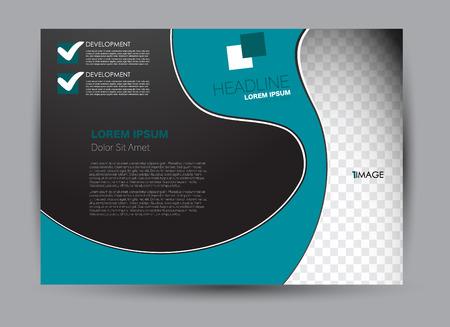 Folleto, folleto, orientación horizontal de diseño de plantilla de cartelera para negocios, educación, escuela, presentación, sitio web. Color azul y negro. Ilustración vectorial editable.