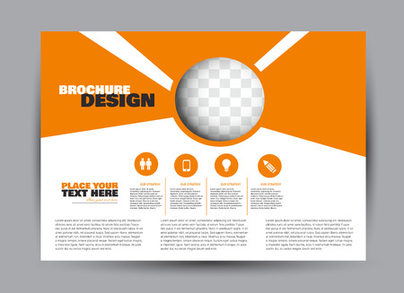 Flyer, brochure, billboard template design landscape orientation for business, education, school, presentation, website. Orange color. Editable vector illustration.