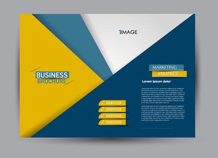 Volantino, brochure, modello di cartellone pubblicitario orientamento orizzontale per affari, istruzione, scuola, presentazione, sito web. Colore blu e arancione. Illustrazione vettoriale modificabile.