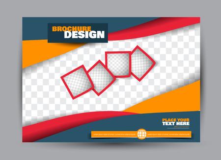 Flyer, brochure, billboard template design landscape orientation for business, education, school, presentation, website. Blue, red, and orange color. Editable vector illustration. Ilustración de vector