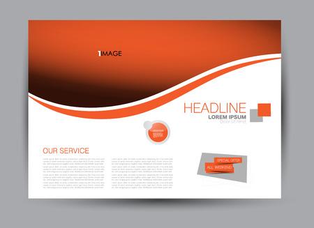 Flyer, brochure, orientamento orizzontale per la progettazione di modelli di cartelloni pubblicitari per istruzione, presentazione, sito Web. Colore arancione. Illustrazione vettoriale modificabile.
