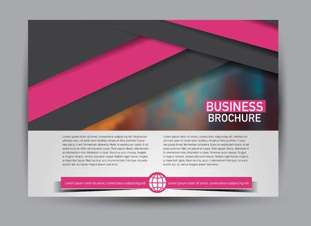 Flyer, brochure, billboard template design landscape orientation for business, education, school, presentation, website. Black and pink color. Editable vector illustration.