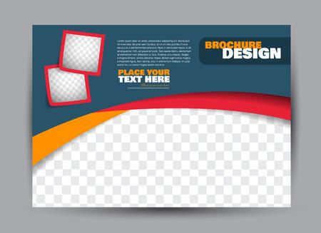 Flyer, brochure, billboard-sjabloonontwerp landschapsoriëntatie voor zaken, onderwijs, school, presentatie, website. Blauwe, rode en oranje kleur. Bewerkbare vectorillustratie.