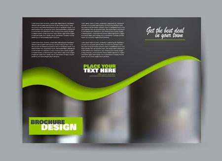 Flyer, brochure, billboard template design landscape orientation for business, education, school, presentation, website. Black and green color. Editable vector illustration.