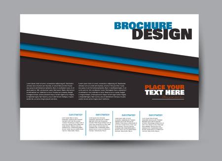 Ulotka, broszura, orientacja krajobrazu szablonu billboardu dla biznesu, edukacji, szkoły, prezentacji, strony internetowej. Kolor niebieski i czerwony. Edytowalne ilustracji wektorowych. Ilustracje wektorowe