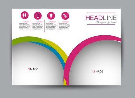 Flyer, brochure, billboard template design landscape orientation for business, education, school, presentation, website. Multicolored editable vector illustration.