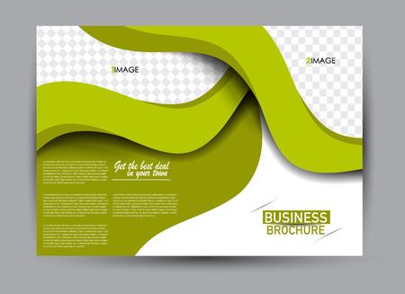 Flyer, brochure, billboard template design landscape orientation for business, education, school, presentation, website. Green color. Editable vector illustration.