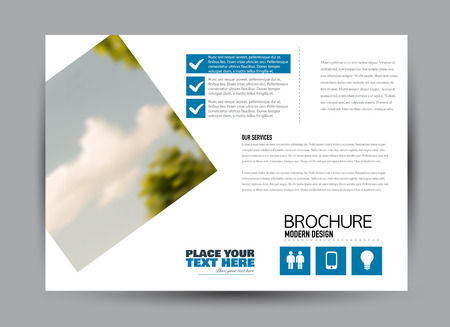 Flyer, brochure, billboard template design landscape orientation for business, education, school, presentation, website. Blue color. Editable vector illustration. Vektorové ilustrace