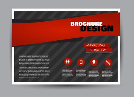 Flyer, brochure, billboard template design landscape orientation for business, education, school, presentation, website. Black and red color. Editable vector illustration. Stock Illustratie