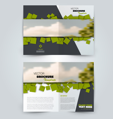 Abstract flyer design background. Brochure template. Can be used for magazine cover, business mockup, education, presentation, report. Green color. Vector illustration.
