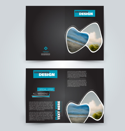 Abstract flyer design background. Brochure template. Can be used for magazine cover, business mockup, education, presentation, report. Black and blue color. Vector illustration.