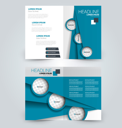 Fold brochure template. Flyer background design. Magazine or book cover, business report, advertisement pamphlet. Blue color. Vector illustration. Vectores