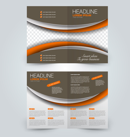 Fold brochure template. Flyer background design. Magazine or book cover, business report, advertisement pamphlet. Brown and orange color. Vector illustration.