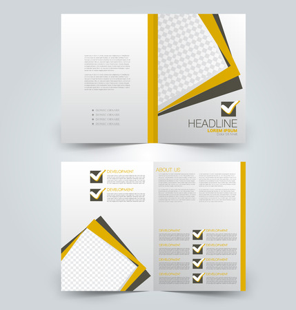 Fold brochure template. Flyer background design. Magazine or book cover, business report, advertisement pamphlet. Yellow and brown color. Vector illustration.